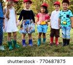 group of kids school field... | Shutterstock . vector #770687875