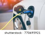 electric car charger. power... | Shutterstock . vector #770695921