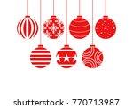 set of christmas balls... | Shutterstock .eps vector #770713987