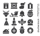 christmas 2017 icons  black... | Shutterstock .eps vector #770722711