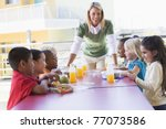 teacher leaning on table... | Shutterstock . vector #77073586