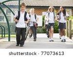 students leaving school one... | Shutterstock . vector #77073613