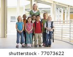 seven students standing with... | Shutterstock . vector #77073622