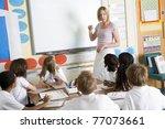 students in class with teacher...   Shutterstock . vector #77073661