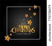merry christmas card. golden...   Shutterstock .eps vector #770738479