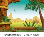 stone cave  green fern and... | Shutterstock .eps vector #770744821