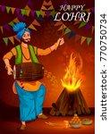 happy lohri punjabi religious... | Shutterstock .eps vector #770750734