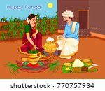 vector design of happy pongal... | Shutterstock .eps vector #770757934