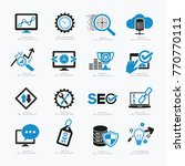 seo development icon set vector | Shutterstock .eps vector #770770111