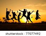 jumping team | Shutterstock . vector #77077492