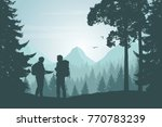 two tourists walking through a... | Shutterstock .eps vector #770783239