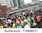 Small photo of KUALA LUMPUR, MALAYSIA - 8 December 2017: Protesters gather to protest and condemns Donals Trump decision to make Baitulmaqdis or Jerusalem as Israel's capital. Hundreds march outside the US embassy