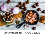fried pancetta and chestnuts ... | Shutterstock . vector #770821231