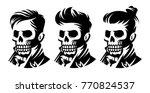 set skull barbershop victorian...   Shutterstock .eps vector #770824537