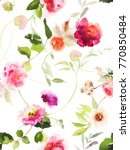 Stock photo seamless summer pattern with watercolor flowers handmade white background 770850484