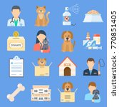 pets shelter icon set.... | Shutterstock .eps vector #770851405