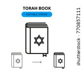 torah book vector line icon... | Shutterstock .eps vector #770857111