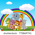collection of zoo animals with... | Shutterstock . vector #770869741