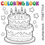 coloring book cake with 5... | Shutterstock .eps vector #770877514