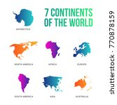 colorful 7 continents of the... | Shutterstock .eps vector #770878159