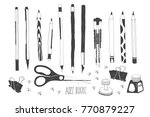 hand drawn stationery and art... | Shutterstock .eps vector #770879227