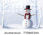 snowman in  snow covered forest.... | Shutterstock . vector #770885344