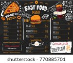 fast food menu design on dark... | Shutterstock .eps vector #770885701