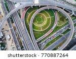 aerial view overpass traffic... | Shutterstock . vector #770887264
