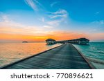 maldives island sunset. water... | Shutterstock . vector #770896621