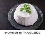 a fresh ricotta with basil leaf ... | Shutterstock . vector #770903821