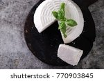 a fresh ricotta with basil leaf ... | Shutterstock . vector #770903845