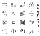 thin line icon set   card  coin ... | Shutterstock .eps vector #770912251