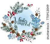 christmas wreath on a blue...   Shutterstock .eps vector #770913049