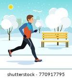 running in winter city park.... | Shutterstock .eps vector #770917795