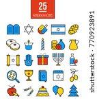 bright hanukkah line icons set. ... | Shutterstock . vector #770923891
