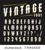 vector set of letters in retro... | Shutterstock .eps vector #770924335