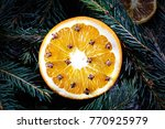 orange with cloves at christmas ... | Shutterstock . vector #770925979