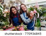 florist decorates a bouquet... | Shutterstock . vector #770936845