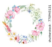 watercolor floral round wreath... | Shutterstock . vector #770945131