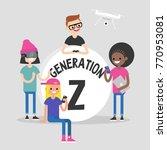 a group of millennial friends... | Shutterstock .eps vector #770953081