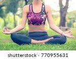 yoga woman in the lotus posture ... | Shutterstock . vector #770955631