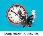 time management six hands man.... | Shutterstock .eps vector #770957725