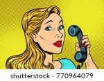 blonde woman talking on retro...