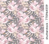 pale pink roses and peonies... | Shutterstock . vector #770964559
