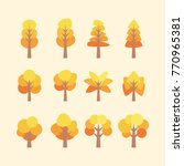set of flat tree vector | Shutterstock .eps vector #770965381