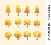 set of flat tree vector | Shutterstock .eps vector #770965381