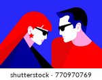 couple in love. two lovers  man ... | Shutterstock .eps vector #770970769