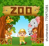 collection of zoo animals with... | Shutterstock .eps vector #770971381