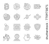 blockchain cryptocurrency icons.... | Shutterstock .eps vector #770973871
