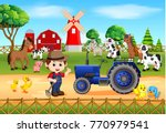 farm scenes with many animals... | Shutterstock .eps vector #770979541